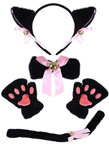 Cat Ears Costumes Pattern - 5 Pieces Halloween Cat Cosplay Costume