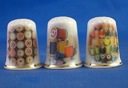 Set of Three Sewing Implements Porcelain China Collectable Thimbles