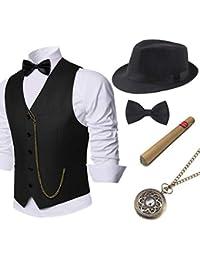 1920s Mens Gatsby Gangster Vest Costume Accessories Set Fedora Hat