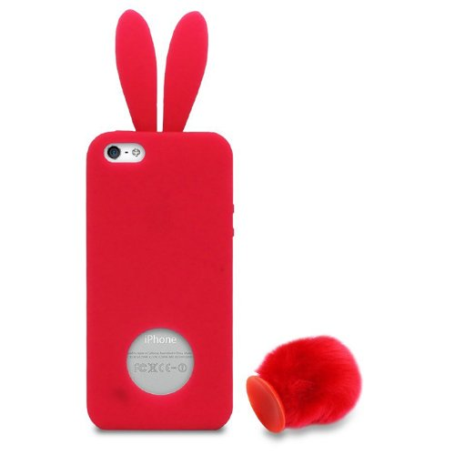 the latest bf957 7fb00 Lovely Rabbit Silicone Bunny Case For iPhone 5 with Furry Tail - Red