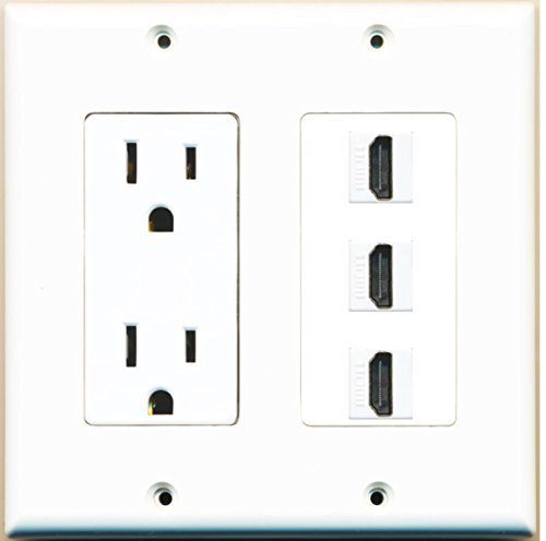 RiteAV - 15 Amp Power Outlet 3 Port HDMI Decora Wall - Outlet Wall Plate Power