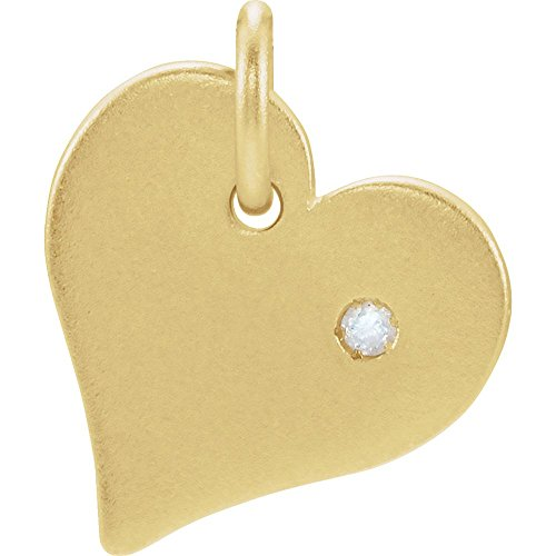 24k Gold-Flashed Sterling Silver 24k Gold-Flashed Polished .01 Dwt Diamond Heart Charm