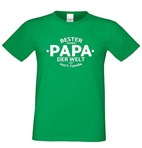 T-Shirt als Geschenk für den Vater - Bester Papa der Welt - Funshirt mit Humor zum Vatertag oder einfach nur so, Größe XL Farbe 16-Hellgrün