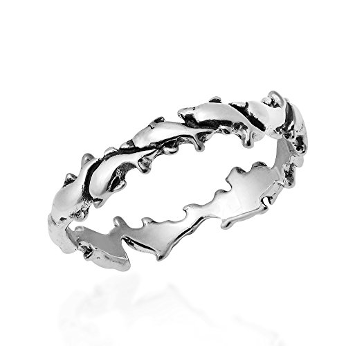 AeraVida Dancing Swirling Dolphin Pod .925 Sterling Silver Band Ring (9)