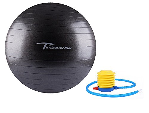 Timberbrother Exercise Stability Ball / Fitness Ball / Balance Ball with Pump (Black, 75cm)
