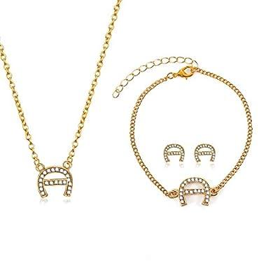 Cheap Women A Initial Cubic Zirconia Chain Necklace Bracelet Stud Earrings Jewelry Set for sale