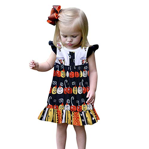 Fheaven (TM) Halloween Outfit Newborn Kids Baby Girl Sleeveless Floral Dress Party Sundress Outfits Clothes (18-24Months, Multicolor)