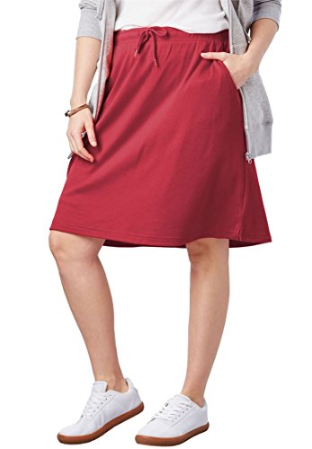 Woman Within Plus Size Sport Knit Skort - Strawberry Red, L