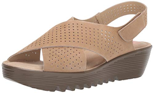Skechers Women's Petite Parallel-PLOT-Square Perf Peep Toe Slingback Wedge Sandal, Dark Natural, 7 M US