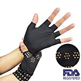 Arthritis Gloves Compression Magnetic Therapy Fingerless for Carpal Tunnel, Computer Typing, and Everyday Support Hands and Joints (2 Pairs),Black
