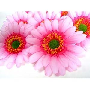 """(12) BIG Silk Light Pink Gerbera Daisy Flower Heads , Gerber Daisies - 3.5"""" - Artificial Flowers Heads Fabric Floral Supplies Wholesale Lot for Wedding Flowers Accessories Make Bridal Hair Clips Headbands Dress 112"""