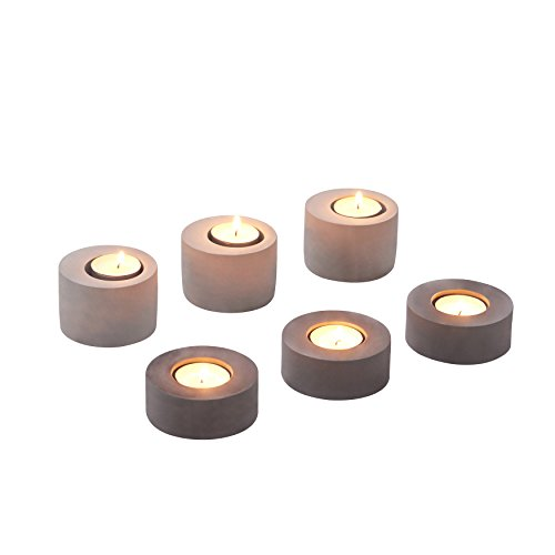- Danya B. 2-Tone Gray Cement Tea Light Candleholders - A Modern Home Decorative Accessory (Set of 6)