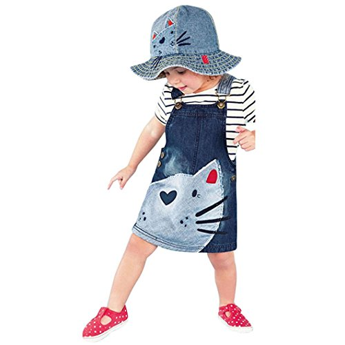 le Little Girls Toddler Baby Kids Cute Cat Print One-Piece Denim Dress Jumper Dress Overall Suspender Skirts (Blue, 6T) (Wear Jumper Dresses)