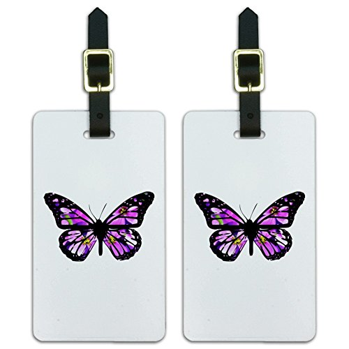 - Butterfly with Flowers Luggage ID Tags Suitcase Carry-On Cards - Set of 2