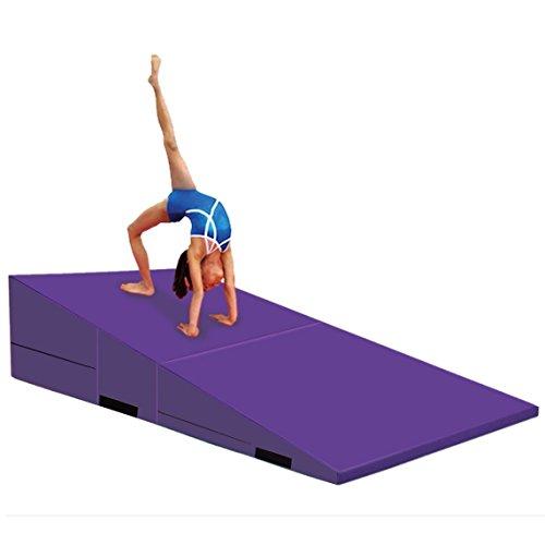 Ramp Mat (Gymmatsdirect Folding Gymnastics Incline Mat Large Cheese Wedge Ramp Skill Shape Triangle Tumbling Mats for Kids Play Home Exercise Aerobics (Purple(Folding), 72
