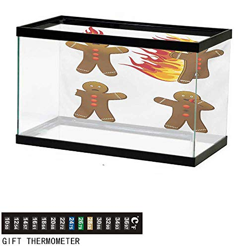 wwwhsl Aquarium Background,Gingerbread Man,Gingerbread Man in Humorous Positions Caught on Fire Eaten Figures,Caramel Red Yellow Fish Tank Backdrop 36