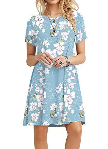 POPYOUNG Women's Summer Casual T Shirt Dresses 3X-Large, Floral Light Blue