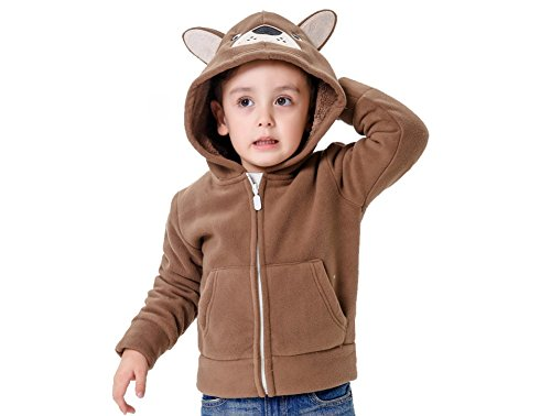 (Winter Jacket for Toddler Boys Fleece Warm Lovely Jacket Winter Coat for Baby Boy (4T, Brownie))