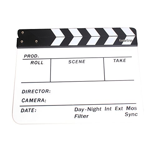 Acrylic Plastic Dry Erase Director's film clapboard (9.85x11.8 inch) with White/Black sticks
