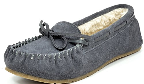 DREAM PAIRS Women's Shozie-01 Grey Faux Fur Slippers Loafers Flats Shoes Size 6.5-7 M ()