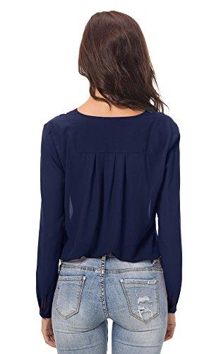 Donne Colore Camicette Camicia Chiffon GoCo Blusa Con Pieghe Lunga Manica Marino Urban Puro Scollo Blu V Cx5vSv