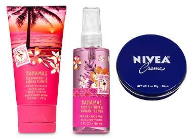(Bath and Body Works 2 Pack Travel Size Set Bahamas Pink Passionfruit & Banana Flower. Body Cream 2.5 Oz, Fine Fragrance Mist 3 Oz. and Travel Size Body Cream 1 Oz.)