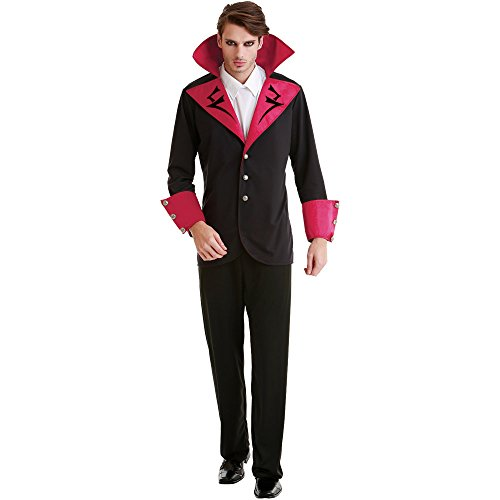 Adult Transylvania Vampire Costumes (Virile Vampire Adult Men's Halloween Dress Up Theme Party Cosplay Costume (Medium))