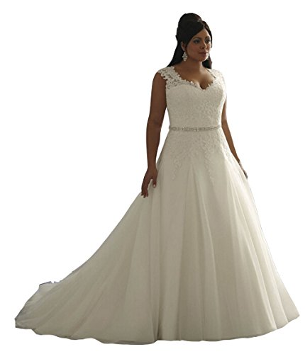 EnjoyBuys-Womens-Clasic-Aplliques-A-Line-Wedding-Dresses-Bridal-Gown-Plus-Size