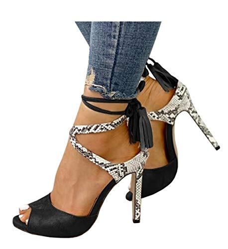 Womens Peep Toe Platform Stilettos Pumps High Heels Strappy Lace Up Dress Sandals Shoes ()