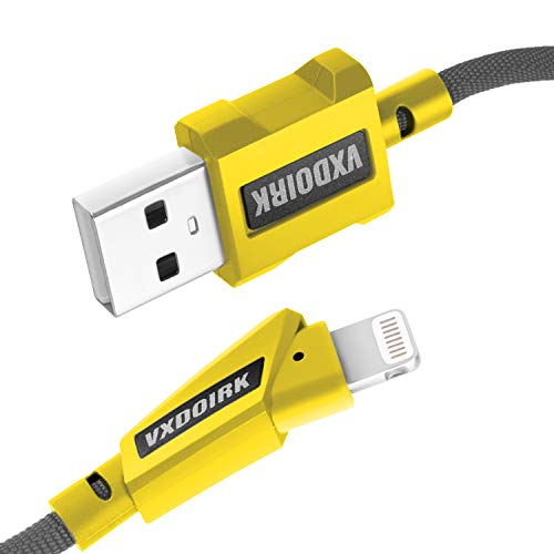 Vxdoirk MFi Certified iPhone Charger Lightning Cable 4FT High Stretch Nylon Weave USB Charging & Syncing Cord Compatible iPhone Xs/Max/XR/X/8/8Plus/7/7Plus/6S/6S Plus/SE/iPad/Nan More(Gray yellow)