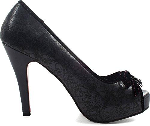 Iron Fist - Sucre de sorcière Platform Peeptoe Chaussures Femme - Anthracite AW20uWs3bS