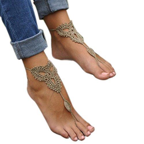 Nude Khaki Cotton Sandals Crochet Foot Anklet Barefoot Vogholic Footless Decoration Shoes tqvRW