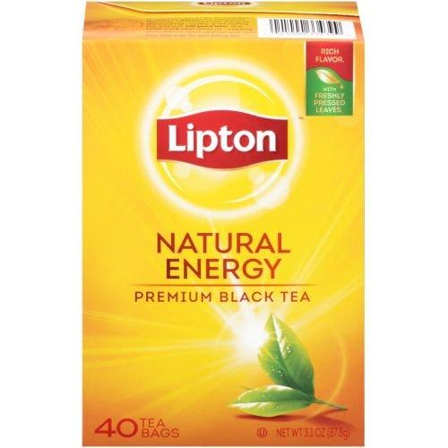 Lipton Natural Energy Premium Black Tea, 40 count per pack -- 12 per case. by Lipton