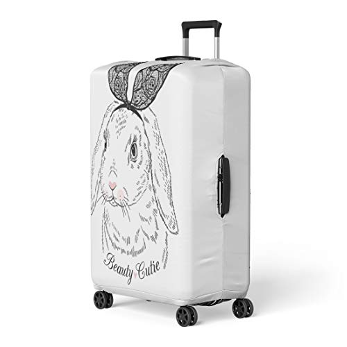 Semtomn Luggage Cover Pink Rabbit Lovely Bunny Girl Lace Ears Graphic Kid Travel Suitcase Cover Protector Baggage Case Fits 26-28 Inch