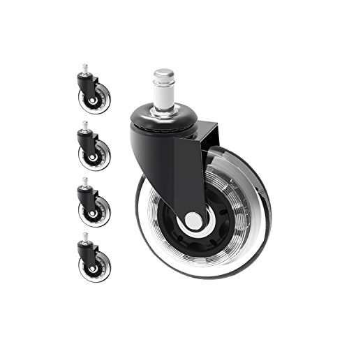 Office Chair Caster Wheels Heavy Duty Safe for All Floors Including Hardwood Perfect Replacement for Desk Floor Mat Rollerblade Style 3'' (Set of 5) by Optimum Orbis