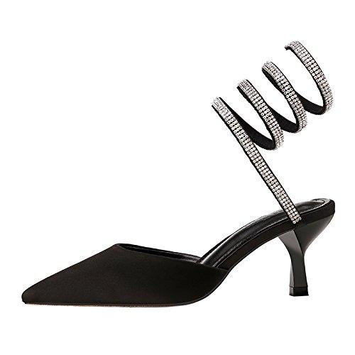 Correa Señaló Elegante Negro Marea Qiqi de pie Zapatos de con Tribunal Silvestres Sandalias Zapatos Zapatos Xue Sandalias Anillo y un Zapatos de de Solo Tacón Baile Bellas qz4F8xw