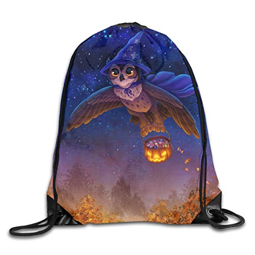 Happy Halloween Cute Owl Candy Pumpkin Drawstring Backpack