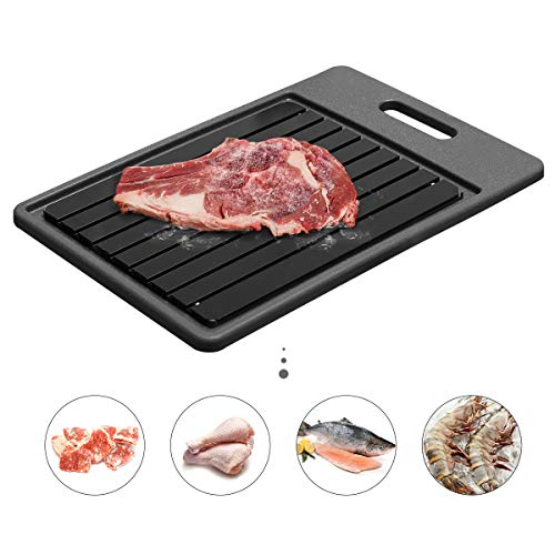 GEMITTO Rapid Defrosting Tray, Thawing Plate for Faster Defrosting Frozen Food, Defrost Plate with Hole for Easily Hanging, Quicker Safer Way to Defrost Meat Pork Beef Fish (Black Board Black Tray)
