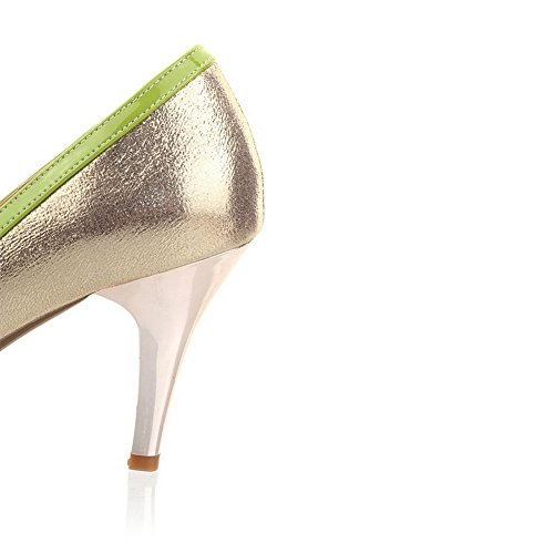 Peep Solid AmoonyFashion with Green Heel Open High Leather Diamond Patent Pumps Glass Womens Toe qqEwCgF
