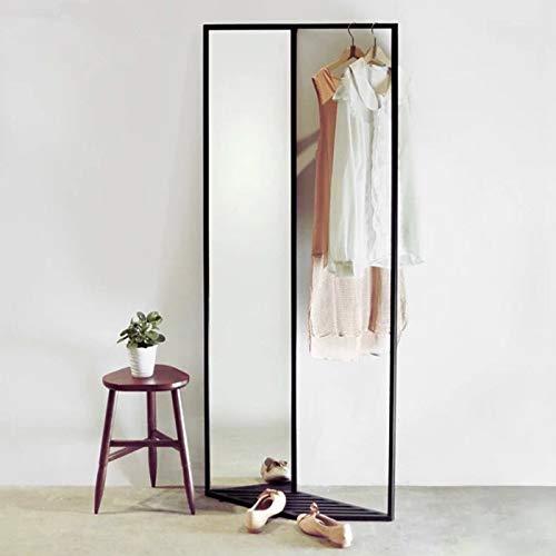 Art Leon Full Length Mirror, Modern Sassy Standing Leaning Against Wall Black Metal Fram Floor Mirror with Clothes Rack & Shoes Rack 3 in 1 Multipurpose for Bedroom/Living Room/Dressing Room/Bathroom