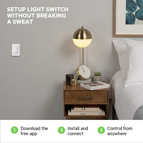 Wemo Wi-Fi Light Switch 3-Way 2-Pack Bundle – Control Lighting from Anywhere, Easy In-Wall Installation, Works with Alexa, Google Assistant and Apple HomeKit (WLS0403-BDL) 41RwNsXQ2yL
