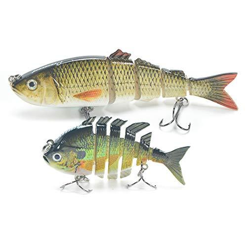 Supertrip Bass Fishing Lures-Swimbait Lures Crankbaits Baits Hard Bait Bass Lures Kit Multi Jointed Bait Treble Hooks 2pcs (Green+Yellow)