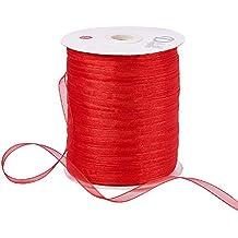 "BENECREAT 1Roll 1/4"" 500 Yards/Roll Sparkle Sheer Organza Ribbon for Festive Decoration DIY Crafts Arts & Garden,Red"