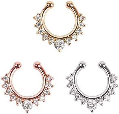 Septum Jewelry, 3pcs Septum Ring Faux No Piercing Nose Ring for Women Girls - Rose Gold & Gold & Silver