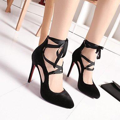 Talones de las mujeres de primavera y verano del club tobillo de los zapatos de cuero de la correa de banquete de boda y vestido de noche de tacón de aguja con cordones Negro Rojo Black