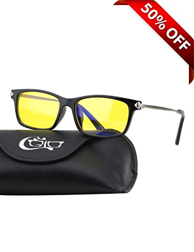 (CGID CY35 Premium TR90 Frame Blue Light Blocking Glasses,Anti Glare Fatigue Blocking Headaches Eye Strain,Safety Glasses for Computer/Phone/Tablets,Flexible Unbreakable Frame,Yellow Lens )