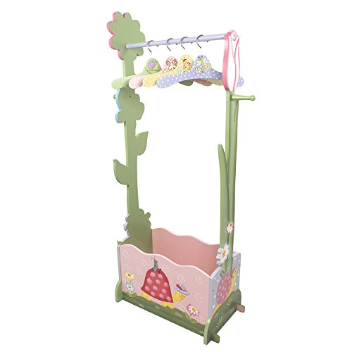 Fantasy Fields - Magic Garden Thematic Wooden Dress Up Storage Station with Set of 4 Hangers | Imagination Inspiring Hand Crafted & Hand Painted Details Non-Toxic, Lead Free Water-Based Paint (Teamson Painted Vanity)