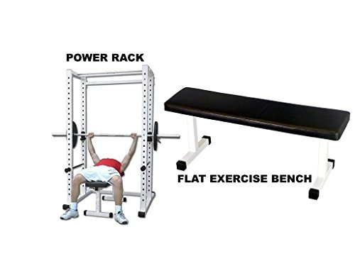 Ader Power Rack w/ 300 Lb Black Olympic Weight Set, Flat Bench and Free Mat by Ader Sporting Goods