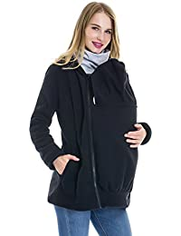 Women's Fleece Zip Up Maternity Baby Carrier Hoodie Sweatshirt Jacket