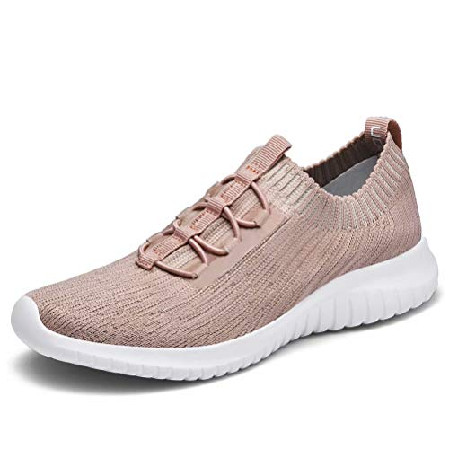 konhill Women's Comfortable Walking Shoes - Tennis Athletic Casual Slip on Sneakers 13 US Apricot,45 ()